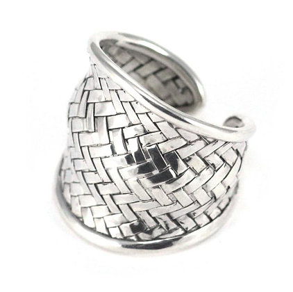 Bali Woven Wave Adjustable Silver Ring