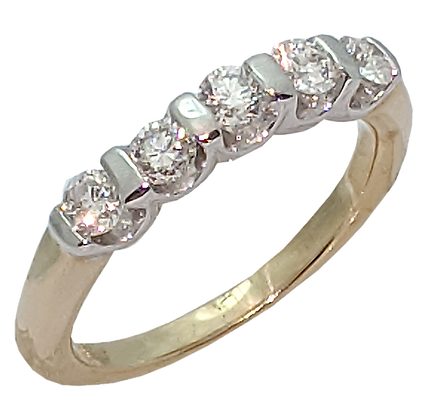 14K Yellow and White Gold Diamond Wedding Ring