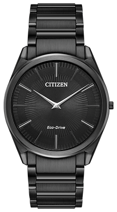 Stiletto Eco-Drive Black Face & Black Band Watch