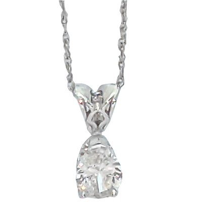 14K White Gold Pear Cut Diamond Pendant