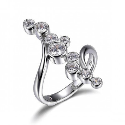 Sterling Silver Bubble Ring with Simulated Diamonds