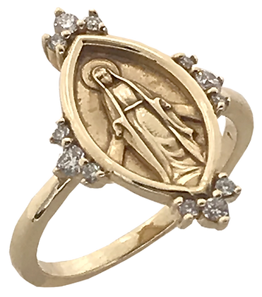 14K Yellow Gold Miraculous Ring with .20 cttw Diamonds