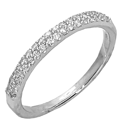 14K White Gold Two Row Diamond Prong Set Wedding Band
