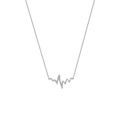 """14K White Gold Heartbeat Adjustable 18"""" Necklace"""