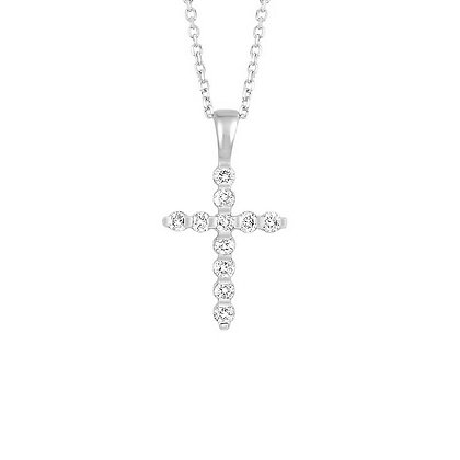 14K White Gold Petite Cross Diamond Necklace