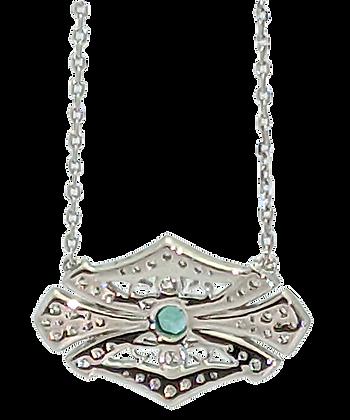 14K White Gold Filigree Diamond Pendant with Emerald