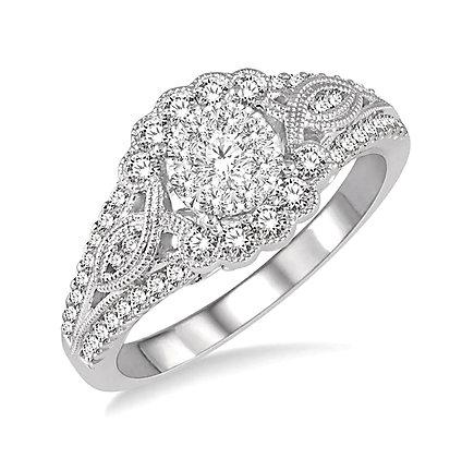 14K White Gold Lovebright Diamond Engagement Ring