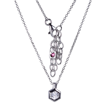 """Cadre Collection Sterling Silver Rhodium Plated 18"""" Necklace"""