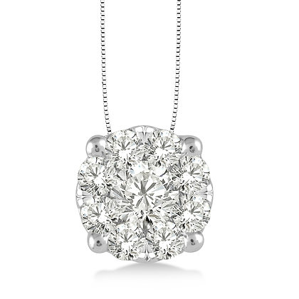 14K White Gold .75 cttw Diamond Cluster Necklace