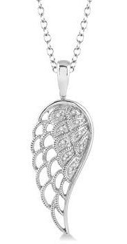 Sterling Silver Angel Wing Diamond Pendant