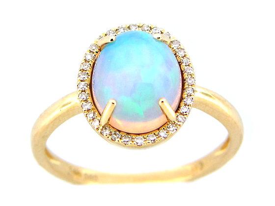 14K Opal Diamond Ring