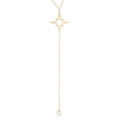 "14K Star Burst Lariat & Simulated Stone 18"" Necklace"