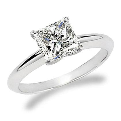 Simple Solitaire Princess Diamond Ring