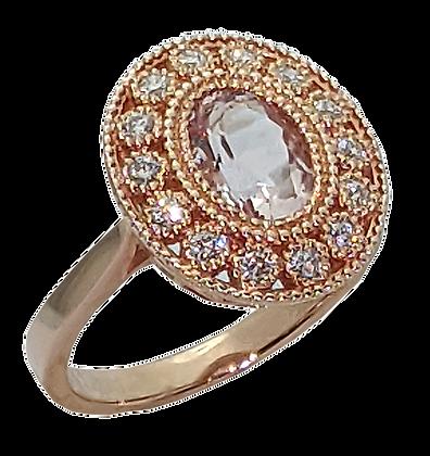 14K Rose Gold Morganite and Diamond Ring