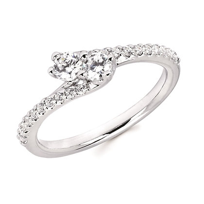1/2 Ctw Diamond Two-Stone Bypass Fashion Ring