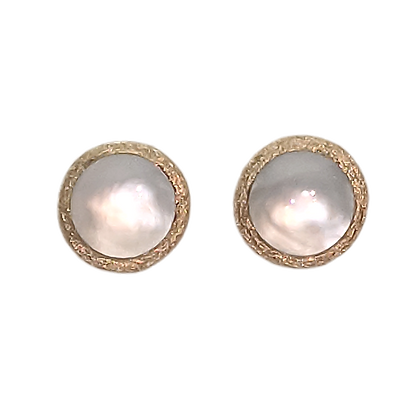 14K Yellow Gold White Mother of Pearl Button Earrings
