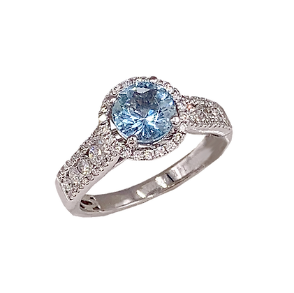 14K White Gold Aquamarine & Diamond Ring