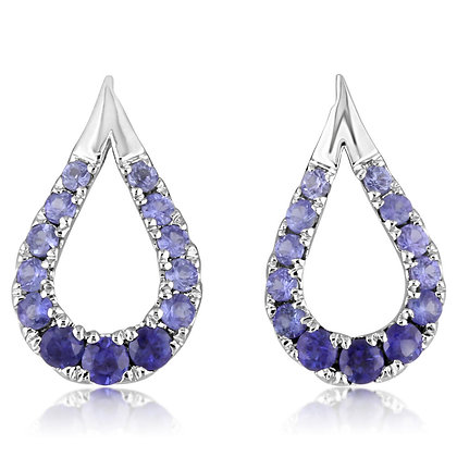 14K White Gold Sapphire Teardrop Shaped Earrings