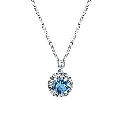 Swiss Blue Topaz and White Sapphires Necklace