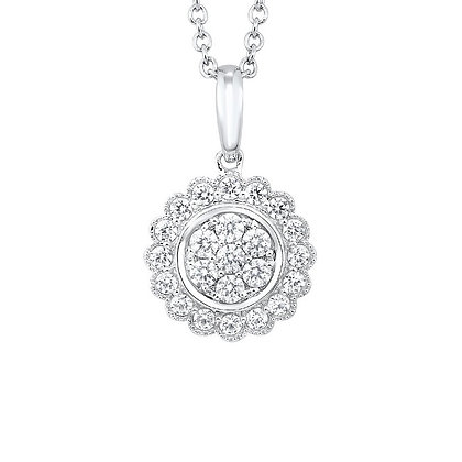 10K White Gold Diamond Cluster Pendant