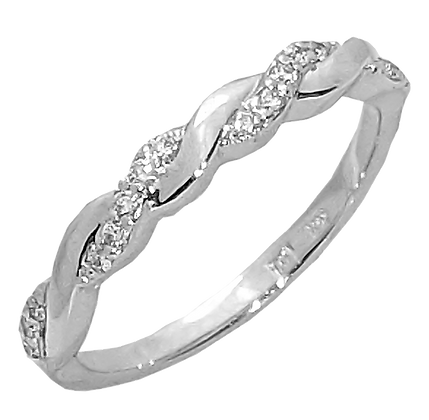14K White Gold Twist Diamond Wedding Ring