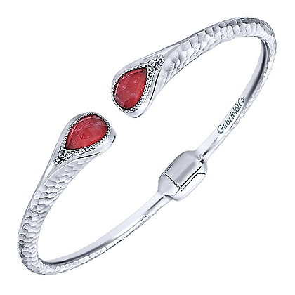Bangle Bracelet Rock Crystal Red Jade