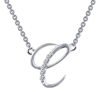 Letter 'C' Platinum-Plated Simulated Diamond Pendant