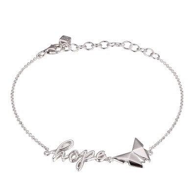 """Sterling Silver Rhodium """"HOPE"""" Adjustable Bracelet"""