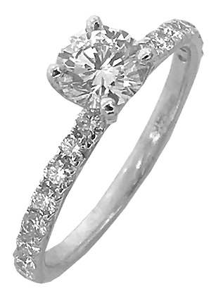 14K White Gold Straight Line .46 cttw Diamond Engagement Ring