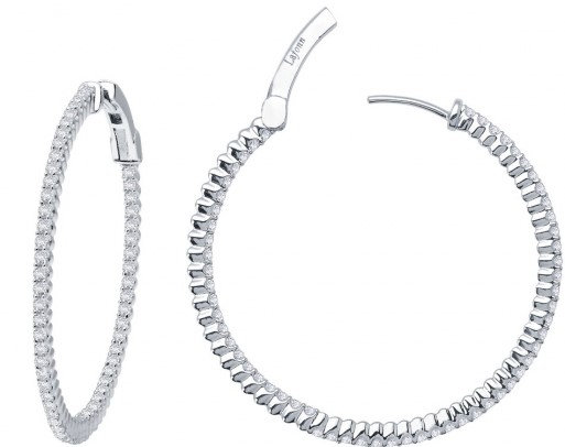 Sterling Silver Platinum Finish Large Hoop Earrings