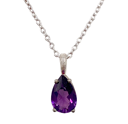 Sterling Silver February Birthstone Amethyst Necklace