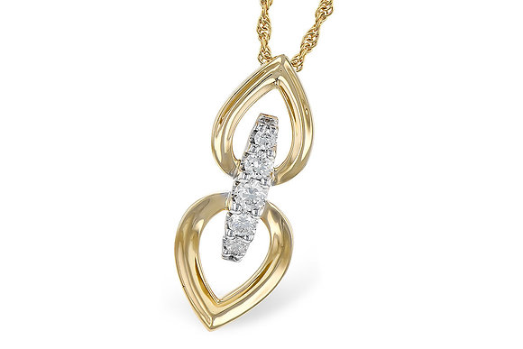 14k Yellow Gold Drop Diamond Pendant