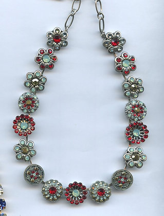 Green And Red Crystals Silver Necklace