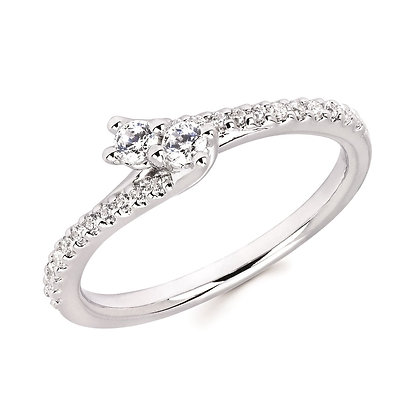 1/4 Ctw Diamond Two-Stone Bypass Fashion Ring