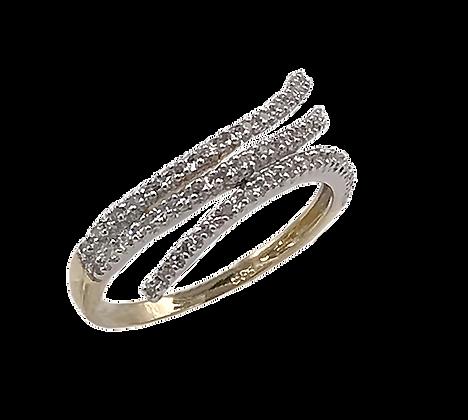 14K Yellow Gold Three Row Diamond Ring