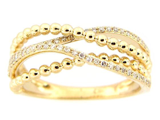 14K Yellow Gold Diamond Beaded Fashion Ring