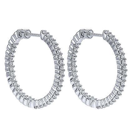 14k White Gold Inside Outside Diamond Hoop