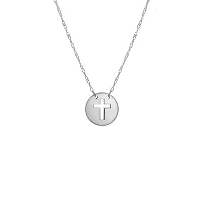 14K White Gold Mini Disc Cut Out Cross Adjustable Necklace