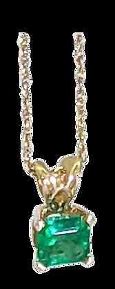 14K Yellow Gold Square-Cut Emerald Pendant