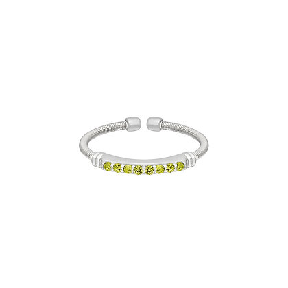 Sterling Silver August Birthstone Cable Cuff Ring