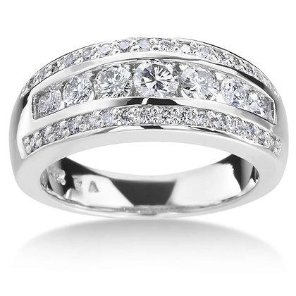 White 14Kwg 3 Row Diamond Anniversary Ring