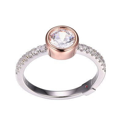 Bezel Set Silver and Rose Tone Ring