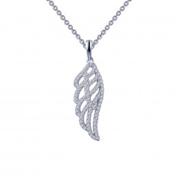 """Sterling Silver Platnum Finish Angel's Wing 18"""" Necklace"""