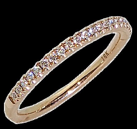 18K Rose Gold Diamond Wedding Band .25 cttw