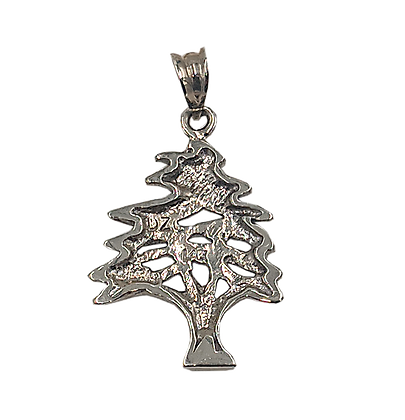 14K White Gold Cedar Tree Pendant