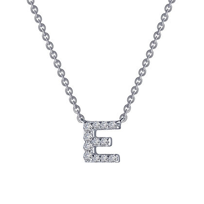Sterling Silver Block Initial E Necklace