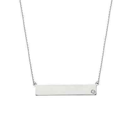 Sterling Silver and CZ Bar Necklace