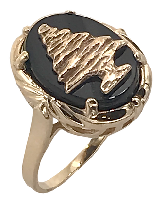 14K Yellow Gold and Onyx Cedar Tree Ring