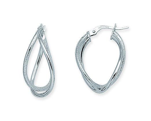 14K White Gold Double Oval Twist Earrings