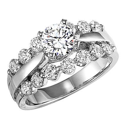 14k White Gold .99 cttw Diamond Engagement Ring